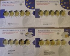 Germany - 4 sets of 5x 2 Euro, 2011 Cologne Cathedral, 2012 Ten Years of Euro, 2012 Neuschwanstein, 2013 Elysee PP