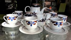 Fine porcelain tea set for 6 SCHERZER -BAVARIA decorated in blue and brown – Germany - early 1970s