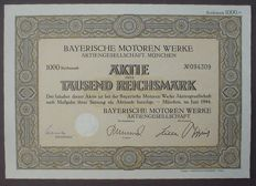 Germany - BMW Bayerische Motorenwerke 1000 Reichsmark stock Munich - May 1944