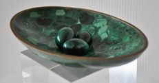 A unique hand made and polished gemstone malachite dish with brass rim and 3 malachite polished eggs