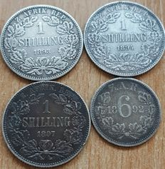 South Africa - 6 Pence & 1 Shilling 1892/1897 (lot of 4 coins) - Silver