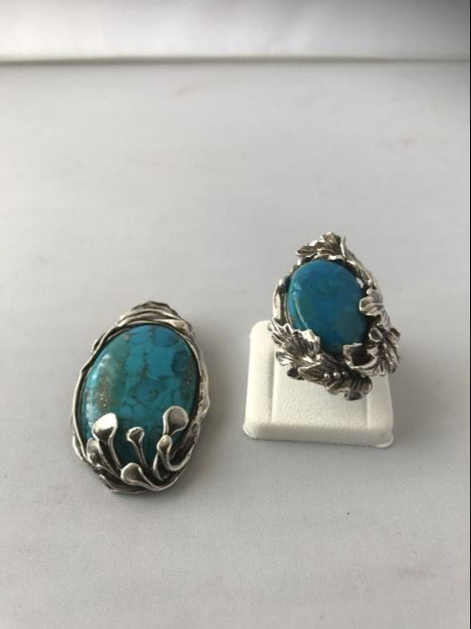 Necklace pendant and women's ring with genuine turquoise, .925 silver hallmark