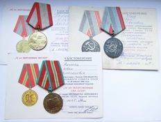 UdSSR/Russland - 3 Various Medals with Documents