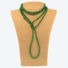Yellow 18 kt/750 gold – Long emerald and rubies  necklace –