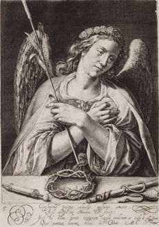 "Mannerism-Crispijn de Passe; Abraham Bloemaert- Engraving  ""Angel with instruments of the passion""-Utrecht-16/17th century/1944"