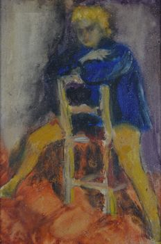 Lionel Francis Herbert (?-1977) - A trio of paintings. A woman straddling a chair, and two cityscapes.