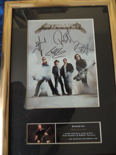Lot Decorative Metallica Memorial - Signed Picture Reprint - Framed - and A Metal Memorial Schield