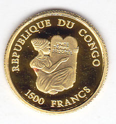 "Republic of Congo – 1,500 francs 2005, ""The Sphinx of Egypt"" – gold."