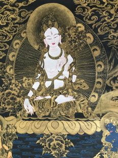 Thangka representing White Tara - Nepal - Late 20th century.