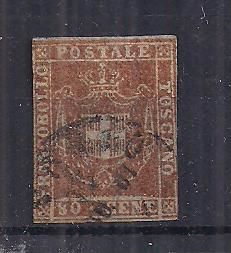 Italy 1860 – Tuscany – Provisional Government 80 centesimi Sassone catalogue #17.
