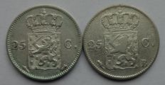 The Netherlands – 25 cents 1826U and 1826B Willem I – silver