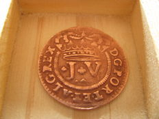 Portugal – D. João V – 1721 – III Reis – Very rare in this condition – NO RESERVE PRICE