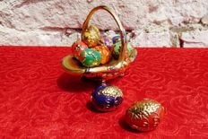 "House of Fabergé - Collection ""Autum Egg Basket"" - porcelain - gold plated finish 24 k"