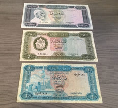 Libya - 1, 5 and 10 Dinars 1972 - Pick 35b, 36b and 37b