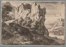 Anthonie Waterloo (1610-1690) - The Barren Rocks - Hollstein 73 - first edition of this rare print - Circa 1650