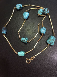 Necklace in 18 kt gold with turquoises, 16.28 g