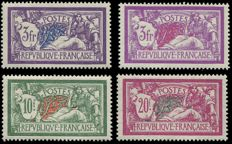 France 1925-1931 – Selection of 4 Merson-style stamps, signed by Cérès with certificate – Yvert No. 206-208 and 240