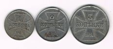 Germany for Russia, First World War - 1, 2 and 3 Kopeks 1916 A Gebiet des Oberbefehlhabers Ost