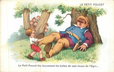 "Illustrator ""Jim Patt"" set of 20 postcards published in the 50s - illustrator renowned by these drawings of fables of lafontaine ..."