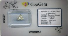 Natural trilliant-cut 0.82 ct diamond I2 >M in blister pack