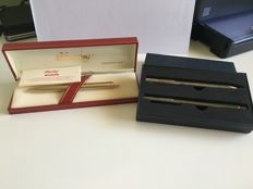 lot of two pens, the first is a gold-plated Columbus ballpoint pen, Gant ballpoint pen and mechanical pencil