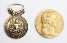 2 French medals from 1870 and 1871. Silver.