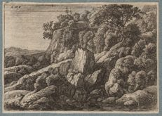 Anthonie Waterloo (1610-1690) - Wilderness covered with rocks - Hollstein 74 - first edition of this rare print - Circa 1650