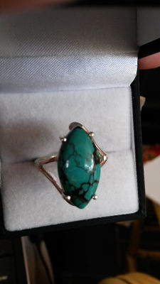 Rare - Marquise Tibetan Turquoise 8cts Coctail ring. No reserve. Old style