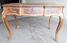 Desk Louis XV style in beech and inlaid with rosewood, twentieth