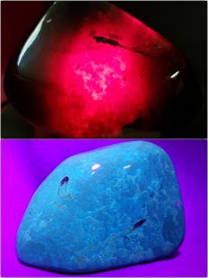 Polished Blue-Red Indonesian Amber – 100% Natural Stone - 80 x 55 x 40 mm - 120g