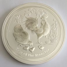 "Australien: 10 oz Silbermünze Lunar 2017 ""Year of the Rooster"""