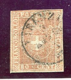 Tuscany - 1860 - 80 cents - Carmine red Sassone catalogue no. 22