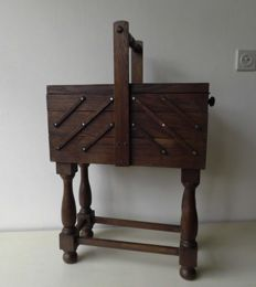 Open Foldable Wooden Sewing Box, on four legs, 1960, Netherlands
