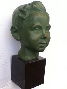 Child's head - patinated bronze sculpture - unreadably signed