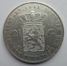 The Netherlands – 2½ guilder coin 1842, Willem II – silver.