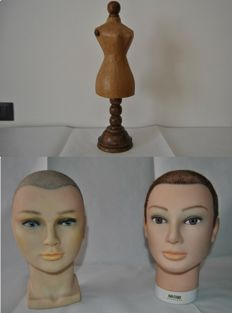 Sartorial mannequin for infant/doll dresses + 2 mannequin heads in silicone