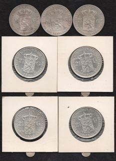 The Netherlands – 2½ Guilder Coins 1871/1933 William III and Wilhelmina (7 Different Coins) – Silver