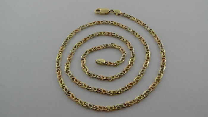 14 kt tri-coloured necklace - Length: 50 cm - 14.15 g