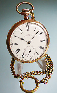 Waltham men's pocket watch including gold-coloured chain from 1901.