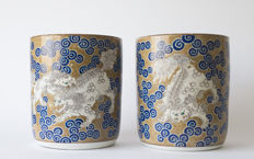 Two coloured porcelain hibachi Decorated with karashishi lions – Japan – 1st half 20th century