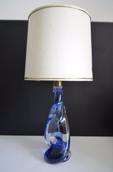 Val Saint Lambert – Crystal Belgium, Table lamp with white and blue glass