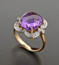 Amethyst brilliant ring 4.25ct in total, 750 rose gold - no reserve price