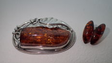 Brooch natural Baltic amber, earrings amber complet silver 925, 45,5 x 28,5mm.