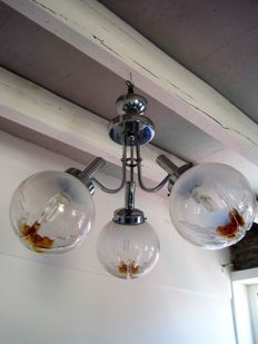Mazzega ( attri. )  – chrome-plated ceiling lamp with 3 glass spheres