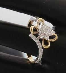 IGI Certified 18k Yellow Gold 0.42 ct.  diamond ring – Ring size: 52 3/4 (FR) and 16.5 NL - no reserve price