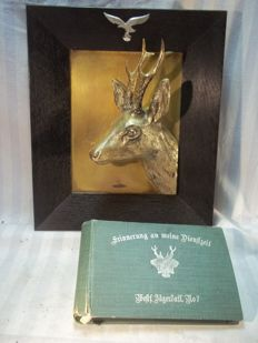 Memorablia German Westf. Jager battalion No. 7, photo album and plaque jagerschaft with luftwaffe Eagle.