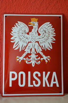 Rare Polish Border Sign - Enamel Sign, End of the 20th Century