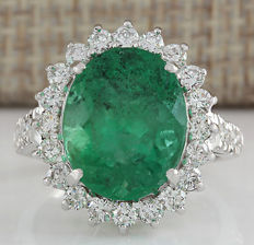 8.93 Carat Natural Emerald And Diamond Ring In 14K Solid White Gold *** FREE SHIPPING *** NO RESERVE ***