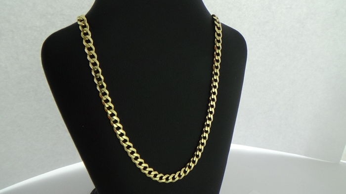 14 kt gold curb link necklace – Length: