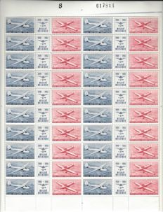 Airmail stamps, OBP numbers PA26 and PA27 50 Years Royal Aero Club Belgium in complete sheetlet of 20 triptychs